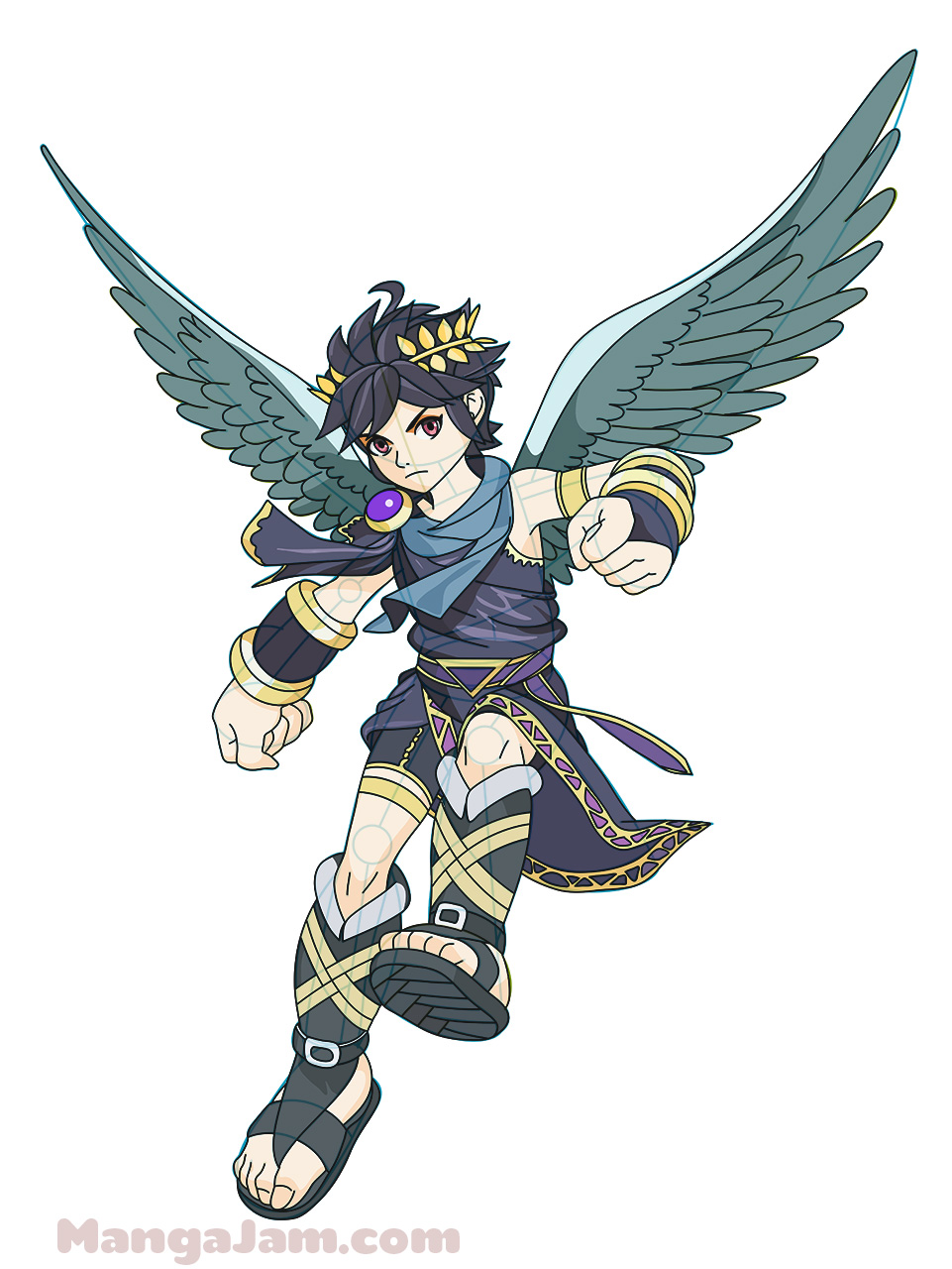 How To Draw Dark Pit From Kid Icarus