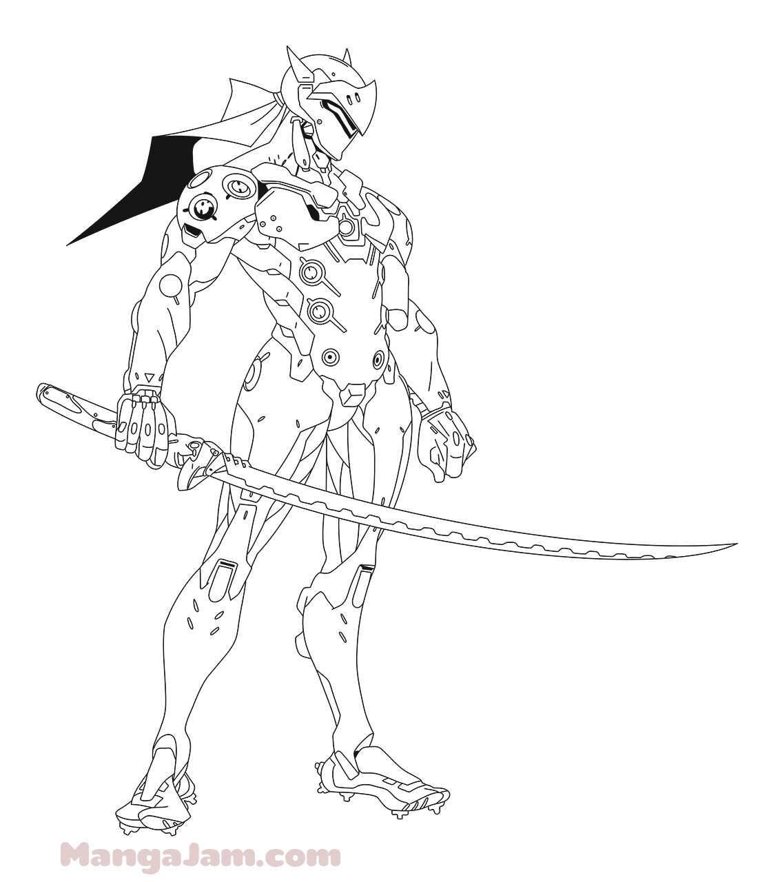 How to draw genji from overwatch for Overwatch coloring pages