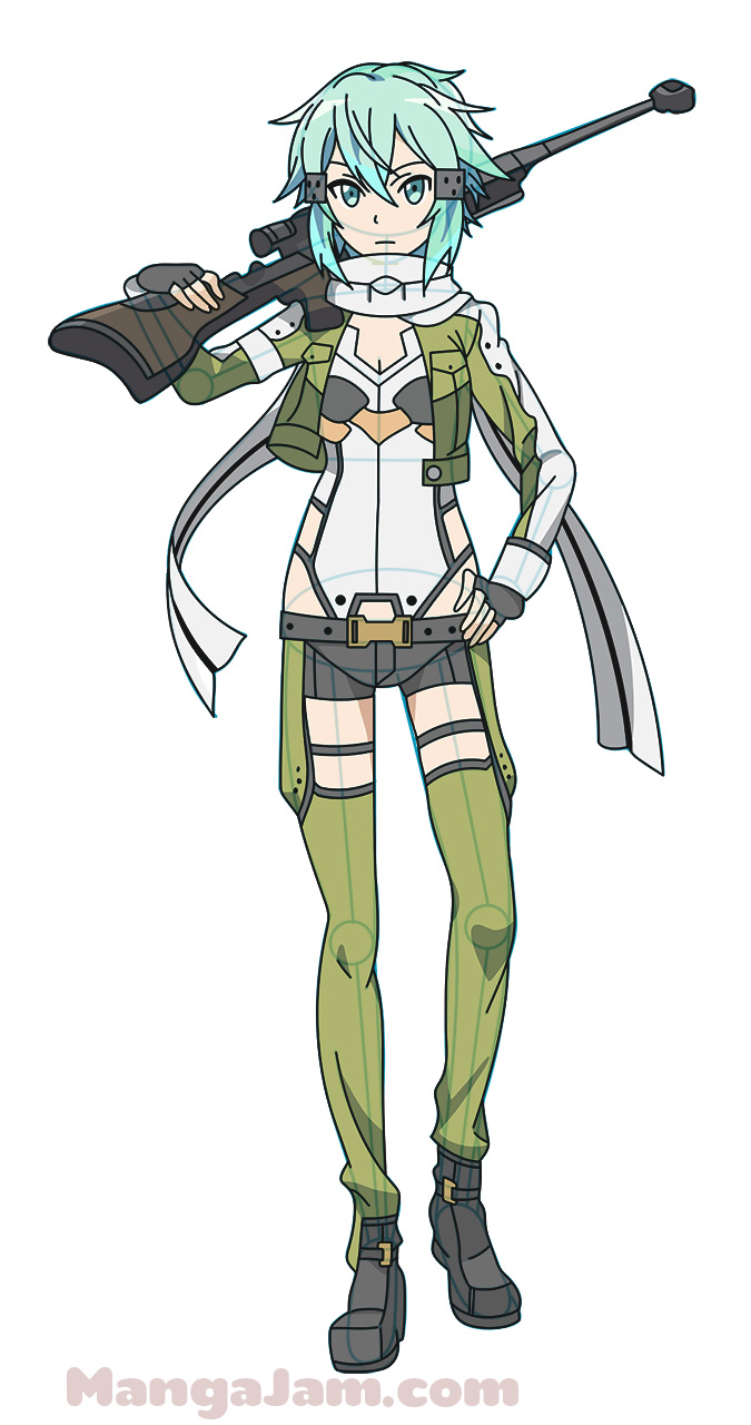 How To Draw Sinon From Sword Art Online