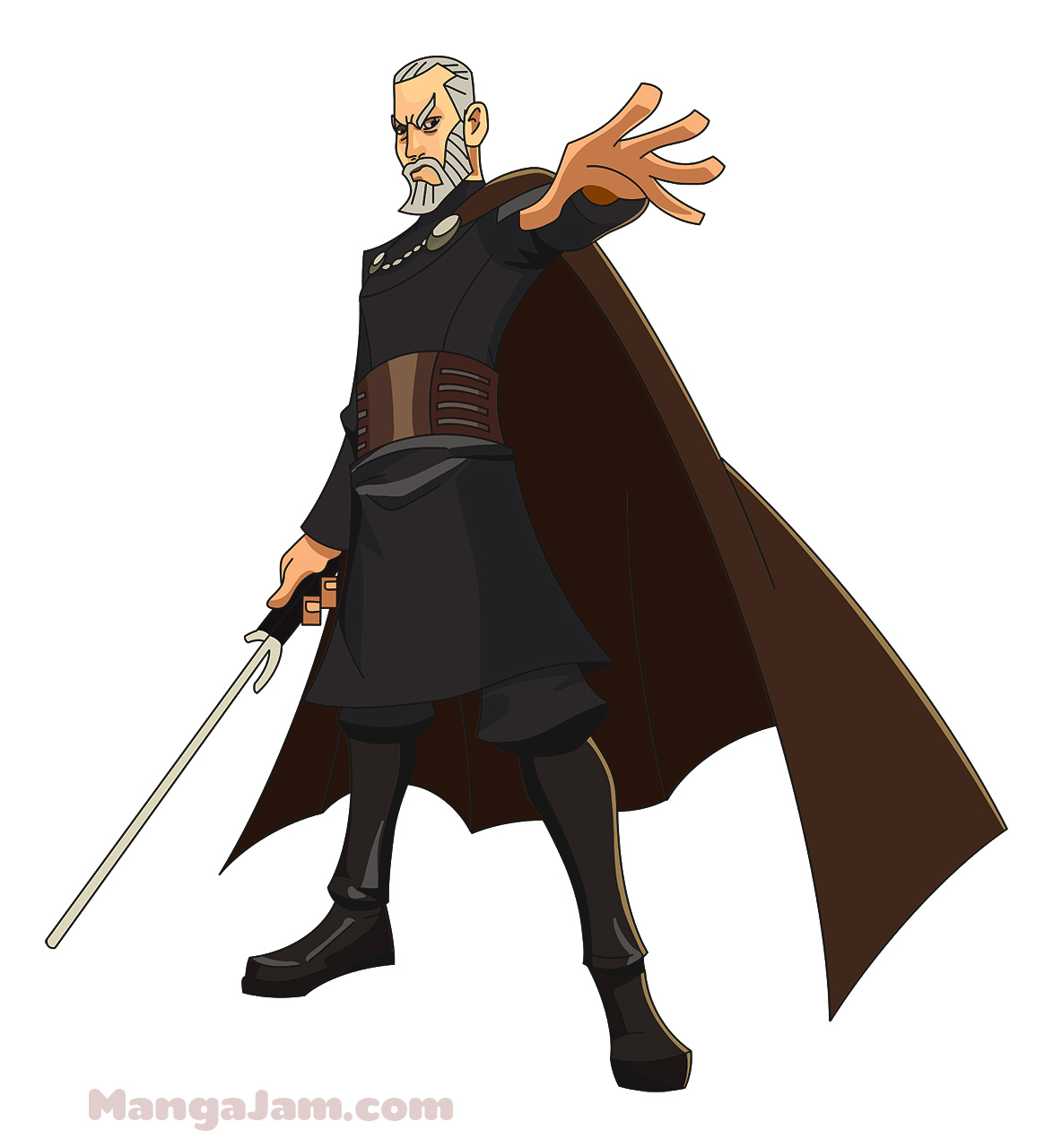 how to draw count dooku step by step