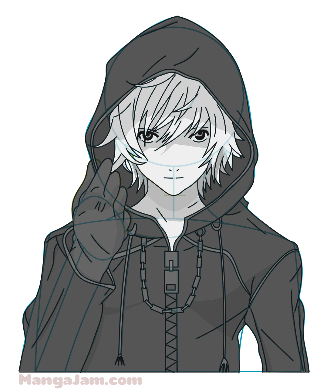 How to Draw Hooded Roxas from Kingdom Hearts - Mangajam.com