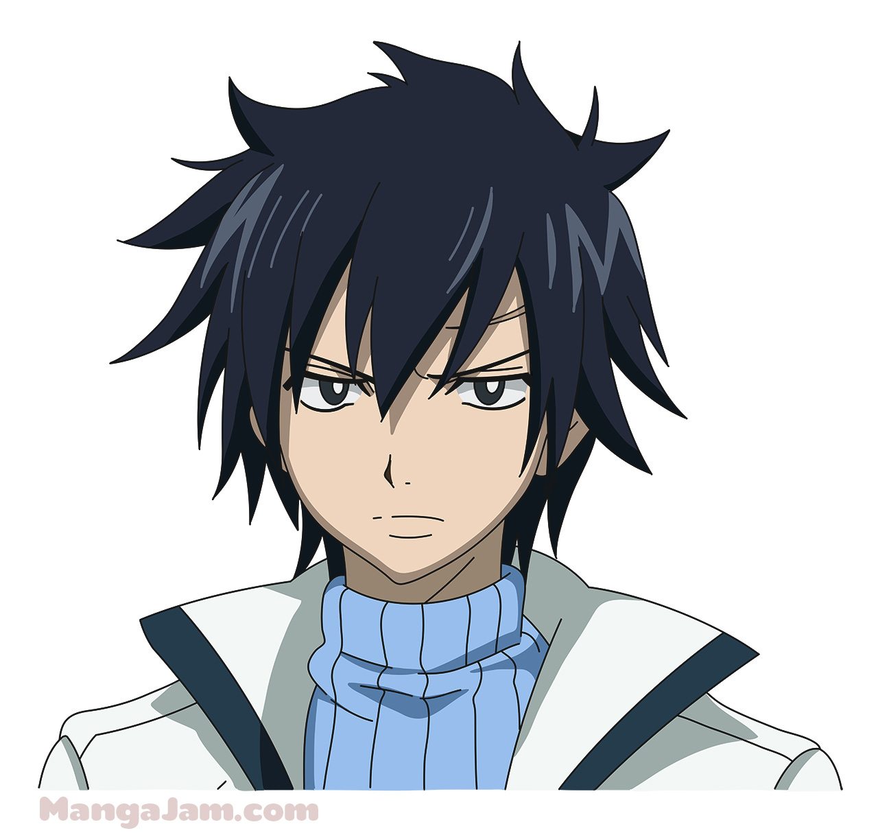 How to Draw Gray Fullbuster from Fairy Tail - Mangajam.com