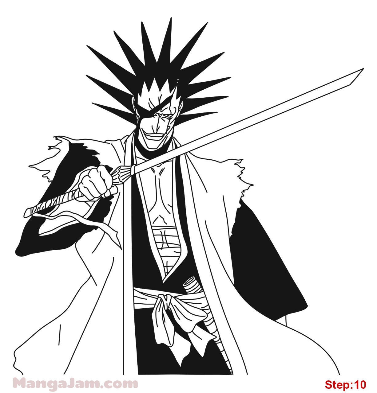 How To Draw Kenpachi Zaraki From Bleach