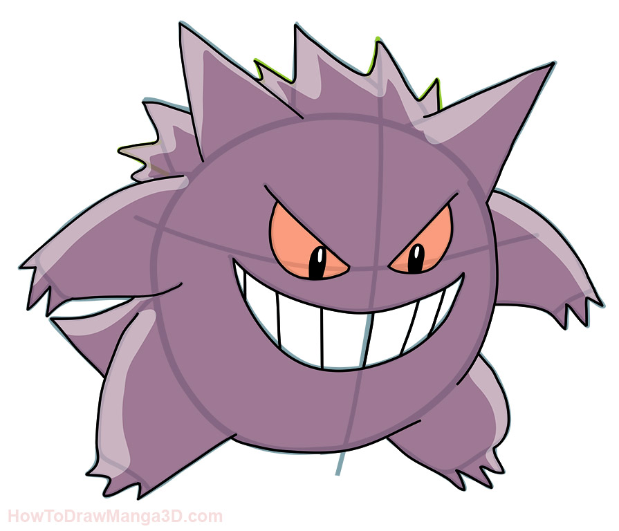 How to draw Gengar Pokemon - Mangajam.com