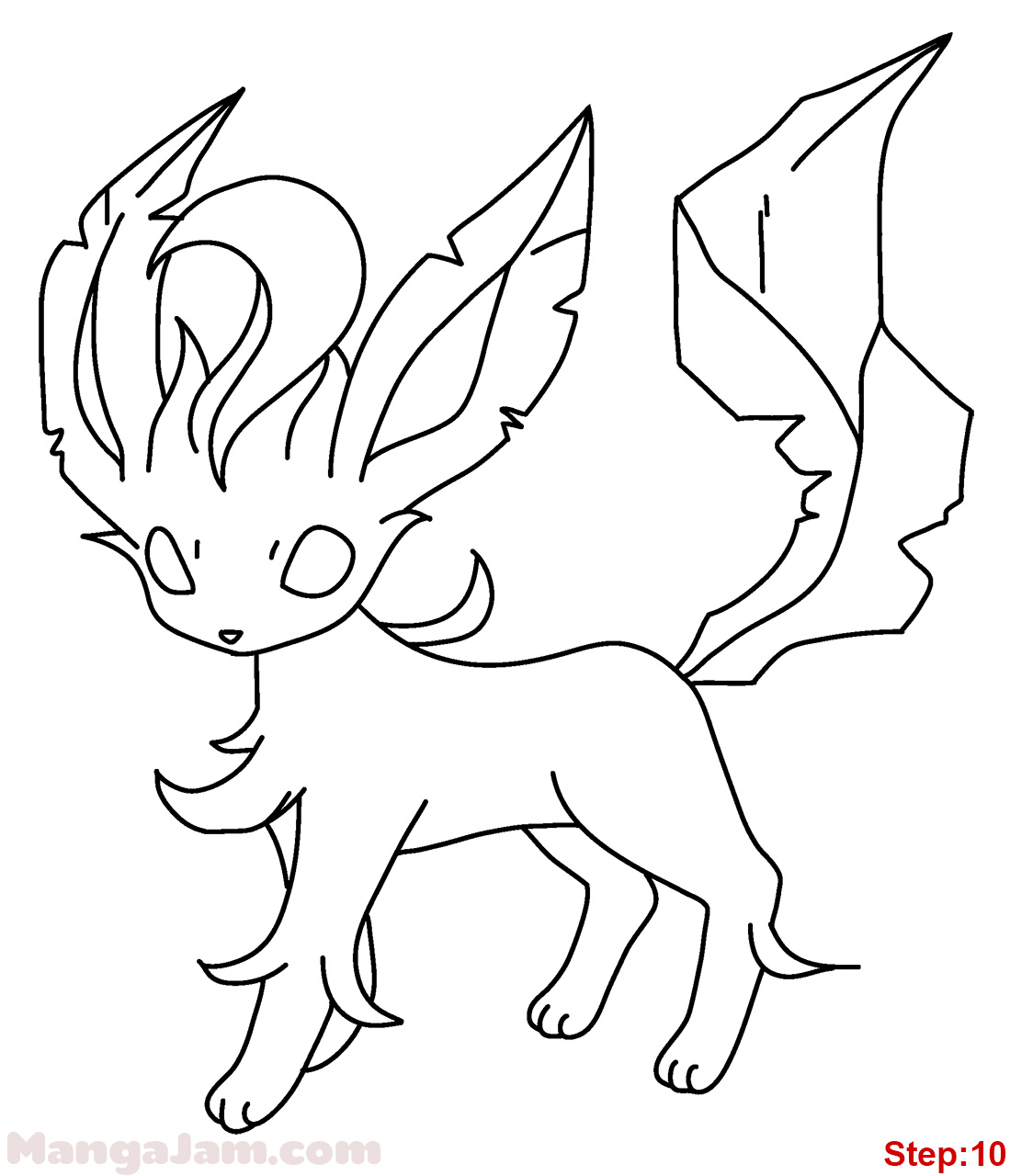 How To Draw Leafeon From Pokemon