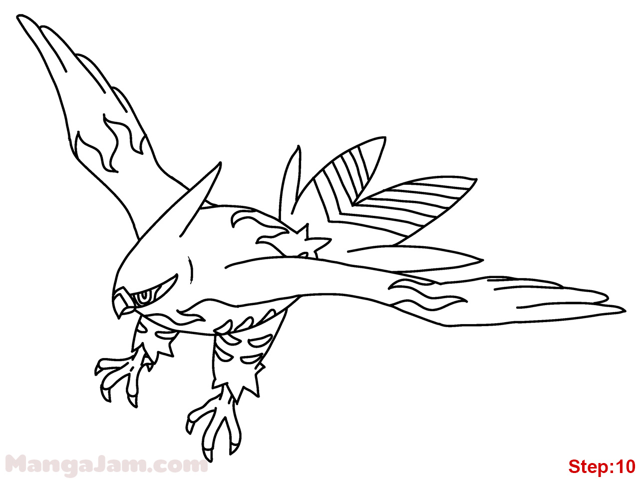Pokemon coloring pages talonflame - Step