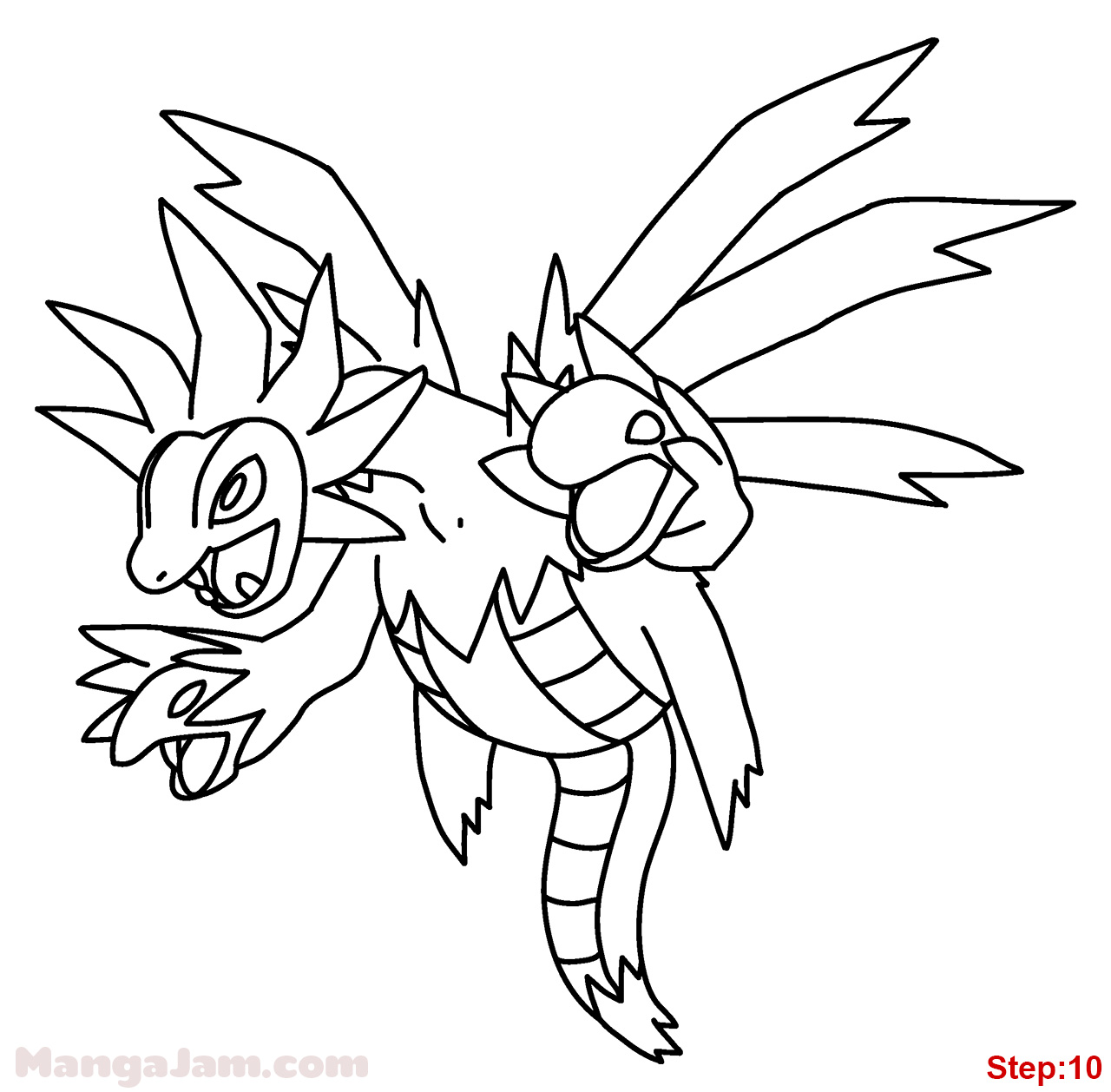 Pokemon coloring pages hydreigon - Step