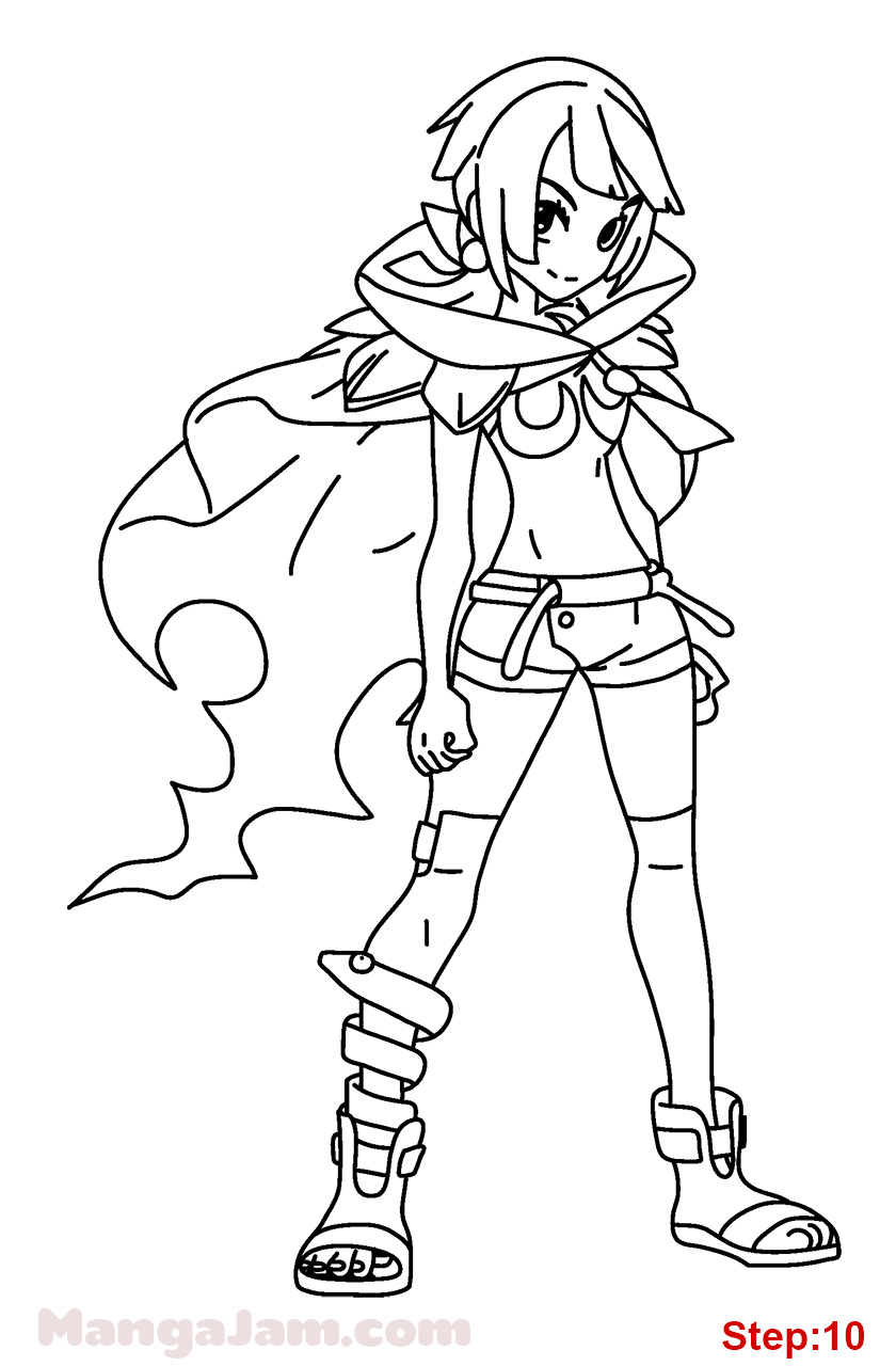 Coloring pages zinnia - Pokemon Trainer Coloring Pages Step