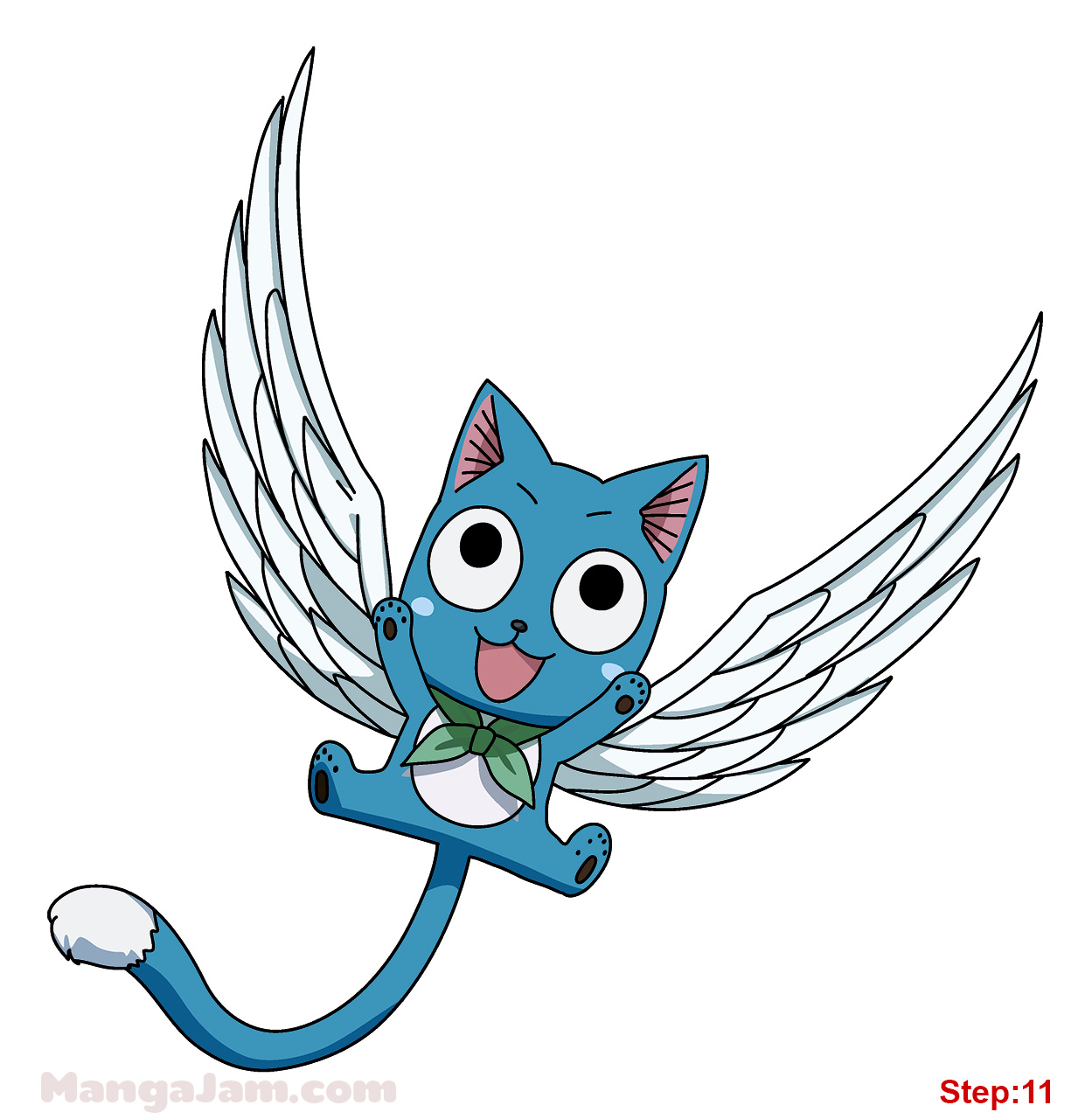 How to Draw Happy with Wings from Fairy Tail - Mangajam.com