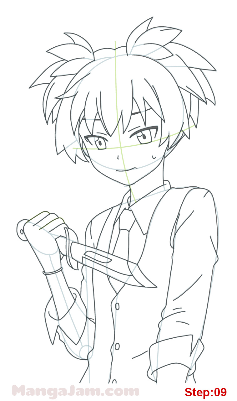 How Draw Nagisa Shiota Assassination Classroom on ink eraser