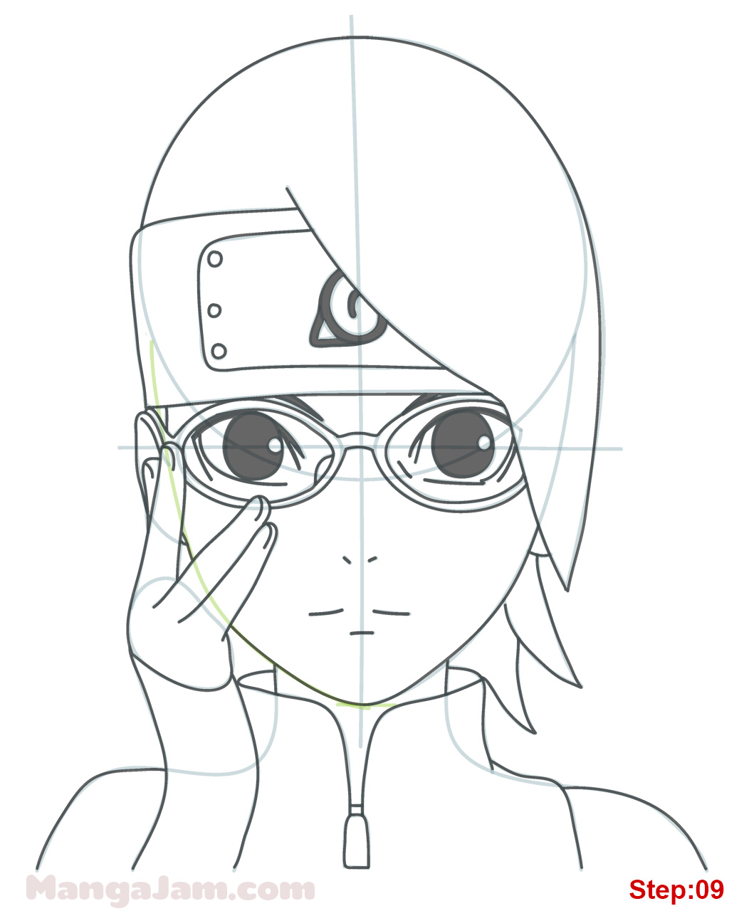 how to draw naruto uzumaki face